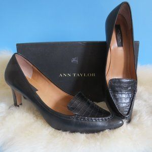 ANN TAYLOR VIENNA BLACK POINTY KITTEN HEEL PUMP